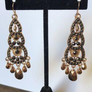 Jewelry - Gold tone gun metal rhinestone chandelier earrings